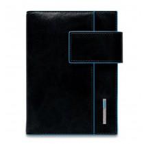 Agenda Organizer piccola pelle con patta Blu Square NERO