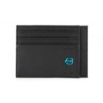 Bustina porta 6 carte di credito tascabile P16 Chevron Nero