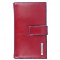 Portafoglio donna con porta monete e porta carte di credito Rfid Blue Square Rosso