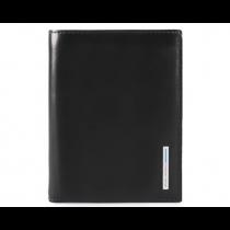 Portafoglio uomo con porta documenti rimovibile porta card e porta monete Rfid Blue Square Mogano