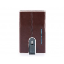Porta carte di credito con sliding system RFID Blue Square Mogano