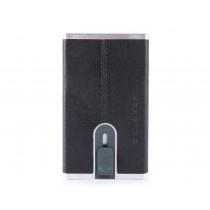 Porta carte di credito con sliding system RFID Black Square Blu Notte