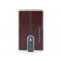 Porta carte di credito con sliding system e porta banconote RFID Blue Square Mogano