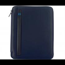 Portablocco sottile formato A4 con zip e portapenna P15 Pulse Blu